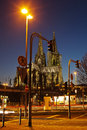 Free Night Scene With Cologne Cathedral Royalty Free Stock Photos - 24433948