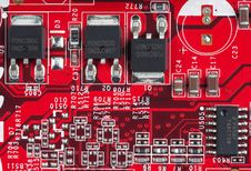 Red Electronic Circuit Board, Small Elements Stock Photography