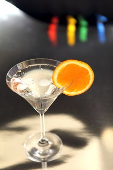 Free Cocktail Of Ice And A Slice Of Orange Royalty Free Stock Photography - 24432727