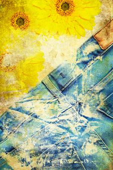 Free Grunge Background With Jeans And Flowers Royalty Free Stock Photos - 24432768
