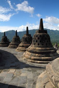 Free A Group Of Stupa On Borobudur Temple Stock Photo - 24435000