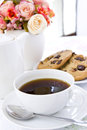 Free Cookie With Black Coffee And Flow Stock Photography - 24443572