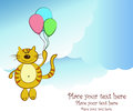 Free Amusing Flying Cat With Balloons In Clouds Royalty Free Stock Images - 24447809