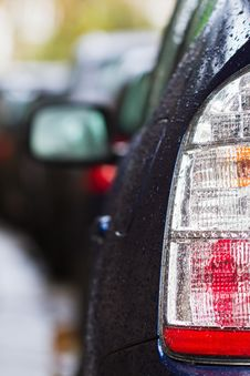 Car Taillight With Raindrops Royalty Free Stock Photography