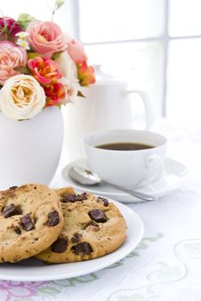 Free Cookie With Black Coffee And Flow Stock Image - 24443521