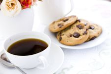 Free Cookie With Black Coffee And Flow Stock Image - 24443541