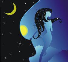 Free Night Girl Royalty Free Stock Image - 24445176