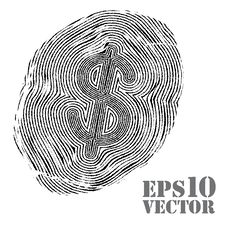 Free Fingerprint With Dollar Sign. Royalty Free Stock Photo - 24445885