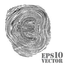 Free Fingerprint With Euro Sign. Stock Photography - 24445892
