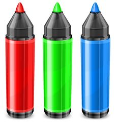Free Three Color Markers Royalty Free Stock Image - 24447396