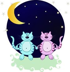 Two Cats In The Night From The Moon And Stars Royalty Free Stock Images