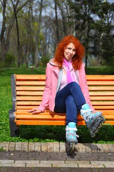 Free Ginger Girl On Roller Skates Royalty Free Stock Photos - 24449528