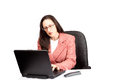 Free Adult Businesswoman Woking On Laptop Royalty Free Stock Images - 24450759