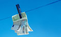 Free Euro Money Banknotes Hanging On Clothesline Stock Photography - 24455662