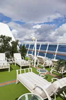 Free Sunbeds On Sundeck Of The Cruise Ship Royalty Free Stock Photos - 24450408