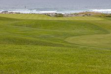 Free Golf Course Greens Leading To Hole By The Ocean Royalty Free Stock Photo - 24450545