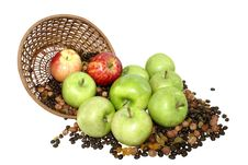 Apples In Basket With Grains  Isolated On White