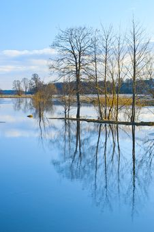 Free Evening Scene Of Spring Flood Stock Images - 24453184