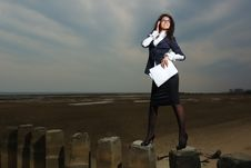 Free Business Lady Standing On The Beach, On A Backgrou Stock Photo - 24454570
