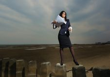 Free Business Lady Standing On The Beach, On A Backgrou Royalty Free Stock Photo - 24454615