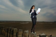 Free Business Lady Standing On The Beach, On A Backgrou Royalty Free Stock Photos - 24454668