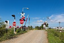 Rail Crossing In Thailand Royalty Free Stock Photos