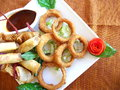 Free Fried Onion Rings With Steak Dinner Stock Photos - 24467793