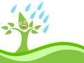 Free Eco Tree With Rain Royalty Free Stock Photo - 24468085