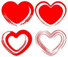 Free Art Love Hearts Set Royalty Free Stock Photography - 24460737