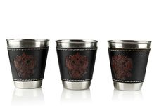 Free Three Metal Cups. Royalty Free Stock Photography - 24463517