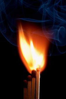 Free Burning Matchstick Royalty Free Stock Images - 24464869