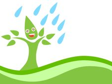 Free Eco Tree With Rain Royalty Free Stock Photo - 24468085