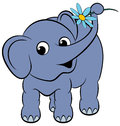 Free Cartoon Funny Elephant With A Flower Royalty Free Stock Photography - 24473657