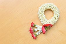Free Thai Style Garland On Wood Background Stock Photos - 24470043