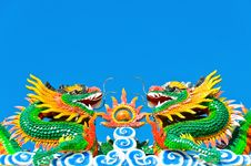 Free Twin Chinese Dragon In Blue Sky Royalty Free Stock Image - 24470116