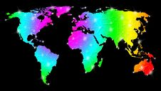 Free Rainbow Bright World Map Stock Photography - 24473862
