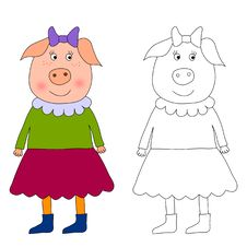 Free Piggy - Coloring Book Stock Photo - 24473980