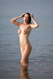 Nude In The Sea Stock Images