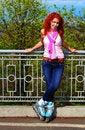 Free Ginger Girl On Roller Skates Stock Image - 24483881