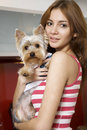 Free Cute Young Girl With Her Yorkie Puppy Royalty Free Stock Photos - 24486858