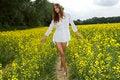 Free Brunette Woman In A Yellow Flowers Field Stock Photo - 24487010