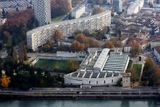 Top View And Stadium Of Grenoble City Stock Photo