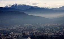 Free Evening Top View Of Grenoble Royalty Free Stock Photos - 24480318