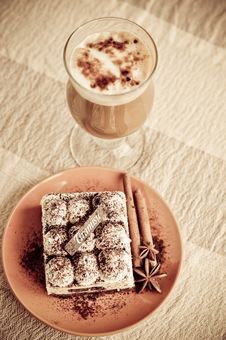 Free Tiramisu And Coffee Stock Photography - 24481302
