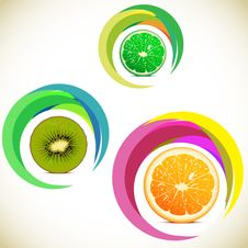 Free Vector Illustration - Set Of Fruits Icons Royalty Free Stock Image - 24482066