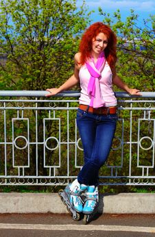 Free Ginger Girl On Roller Skates Stock Image - 24483881