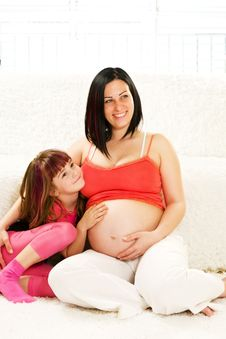 Free Pregnant Mother And Daughter Stock Image - 24489901