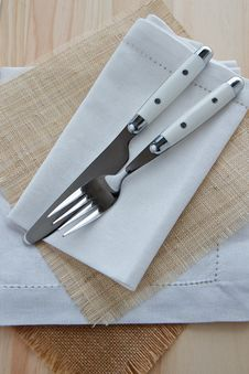 Free Knife And Fork Table Setting On Wood Stock Image - 24491701