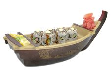 Boat With A Japanese Sushi On White Stock Photo