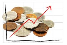 Free Graph And Coin Royalty Free Stock Photo - 24499115
